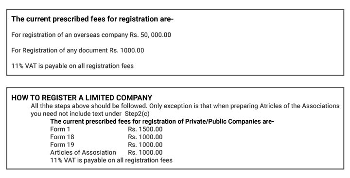 Company registration fees in Sri Lanka is given as chart - prescribed fee