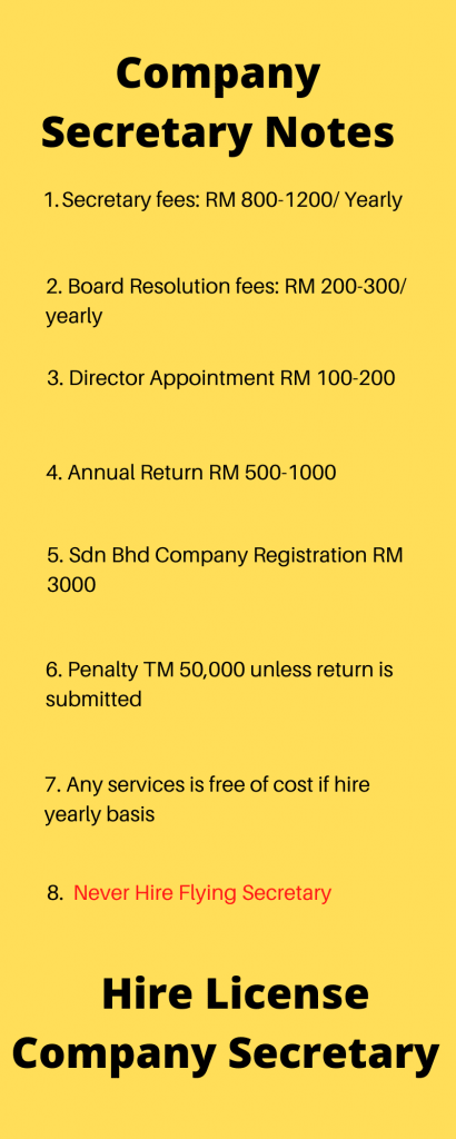 Company Secretary Malaysia Free Schedule and Service Information
