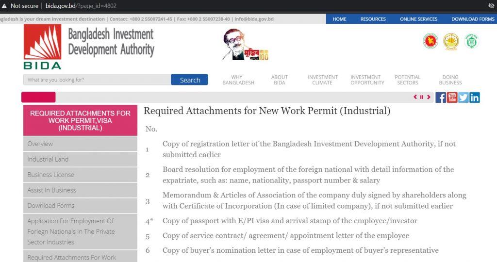 Work permit and investor visa application in Bangladesh