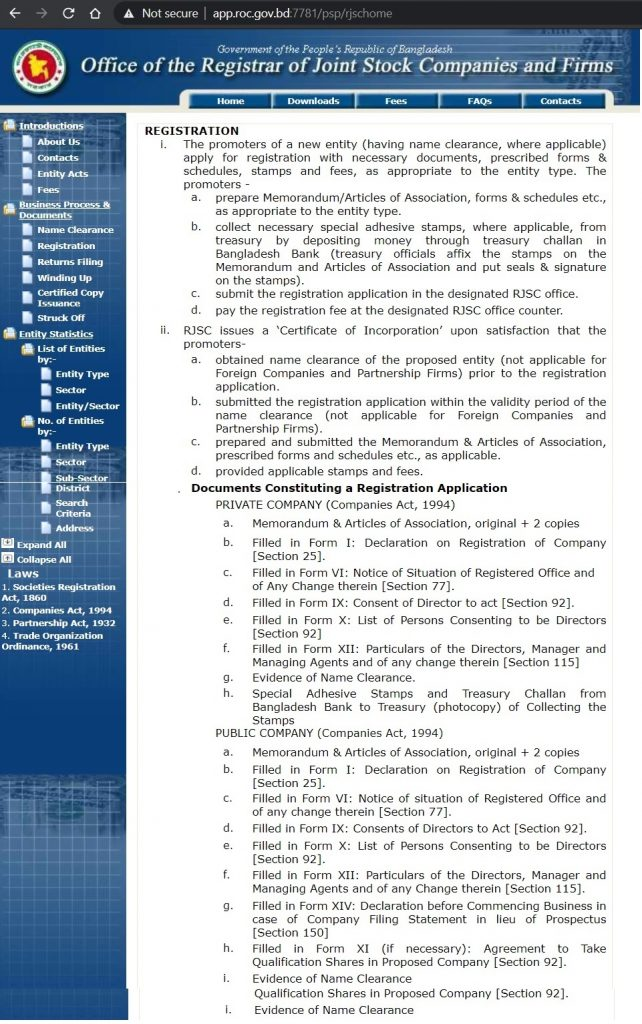 Company registration documents in Bangladesh by RJSC