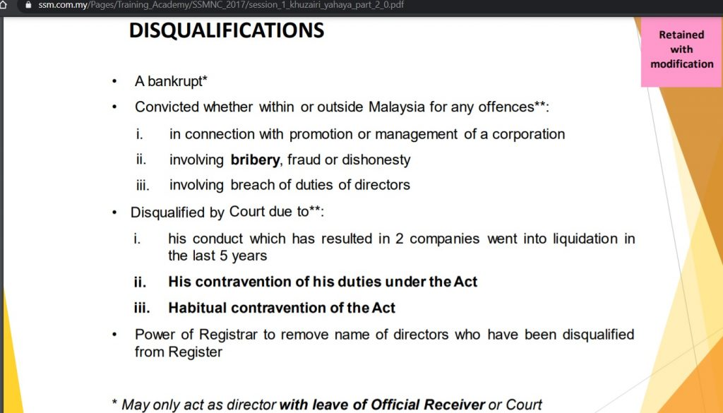 Disqualification of Sdn Bhd company registration