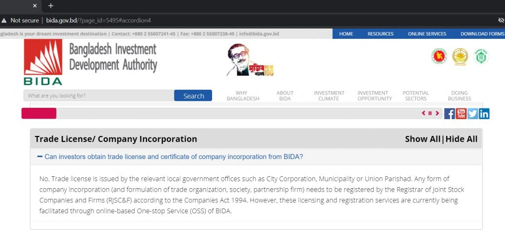 Incorporation and Trade license required to register company