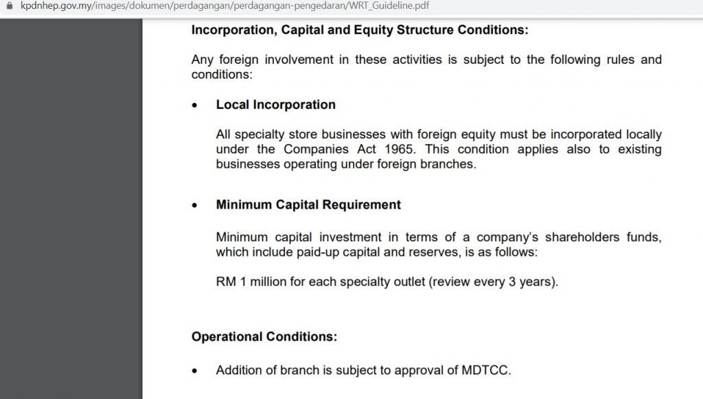 WRT license application requirement of paid up capital is RM 1 million